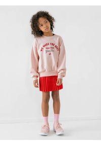 4f - Spódniczka plisowana dziewczęca. Okazja: na co dzień. Kolor: czerwony. Materiał: materiał. Typ sukienki: proste. Styl: casual