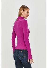 Fioletowa bluzka z długim rękawem Guess na co dzień, z golfem, casualowa