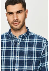 Niebieska koszula Wrangler długa, na co dzień, casualowa, button down
