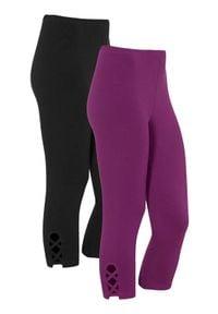 Cellbes Legginsy 3/4 2 Pack Fioletowy Czarny female fioletowy/czarny 54/56. Kolor: wielokolorowy, czarny, fioletowy. Materiał: bawełna, jersey, guma. Wzór: aplikacja