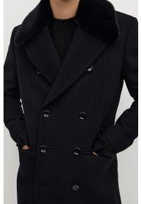 Czarny płaszcz Mango Man na co dzień, casualowy, bez kaptura