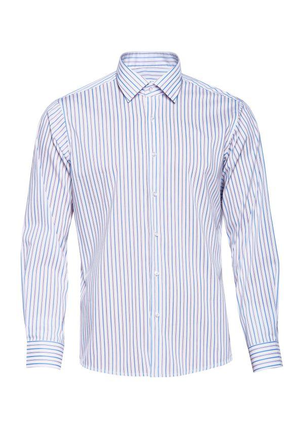 Niebieska koszula VEVA długa, biznesowa, z klasycznym kołnierzykiem, do pracy