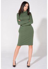 Zielona sukienka dresowa Tessita z kominem