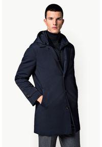 Niebieski płaszcz Lancerto z kapturem, klasyczny