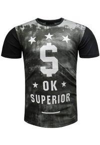 Czarny t-shirt z nadrukiem Recea na co dzień, klasyczny