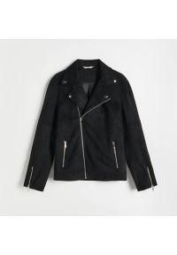 Reserved - Ramoneska z imitacji zamszu - Czarny. Kolor: czarny. Materiał: zamsz