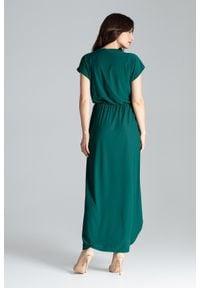 Lenitif - Długa asymetryczna sukienka na gumce kopertowy dekolt zielona. Typ kołnierza: dekolt kopertowy. Kolor: zielony. Typ sukienki: kopertowe, asymetryczne. Długość: maxi