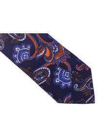 Modini - Granatowy krawat w pomarańczowy wzór paisley D140. Kolor: pomarańczowy, niebieski, wielokolorowy. Materiał: tkanina, mikrofibra. Wzór: paisley