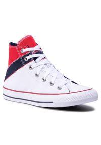 Białe buty sportowe Converse z aplikacjami, na co dzień, z cholewką