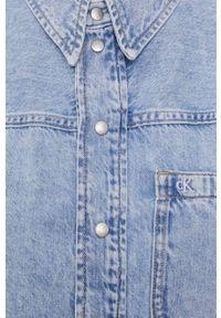 Calvin Klein Jeans - Koszula. Kolor: niebieski. Materiał: denim. Długość rękawa: długi rękaw. Długość: długie