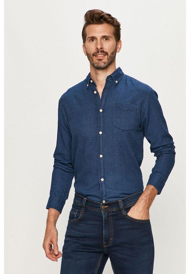 Niebieska koszula Jack & Jones na co dzień, długa, button down