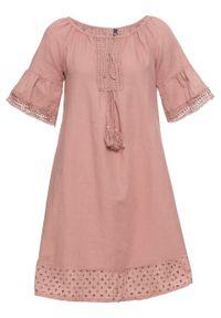 Sukienka lniana bonprix stary jasnoróżowy. Kolor: różowy. Materiał: len. Styl: retro