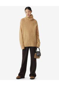 Kenzo - KENZO - Beżowy sweter z golfem. Typ kołnierza: golf. Kolor: beżowy. Materiał: kaszmir, prążkowany, wełna. Długość rękawa: długi rękaw. Długość: długie. Styl: klasyczny