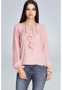 Różowa bluzka wizytowa Figl z falbankami
