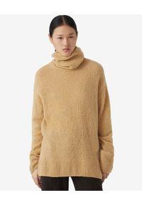 Kenzo - KENZO - Beżowy sweter z golfem. Typ kołnierza: golf. Kolor: beżowy. Materiał: kaszmir, wełna, prążkowany. Długość rękawa: długi rękaw. Długość: długie. Styl: klasyczny
