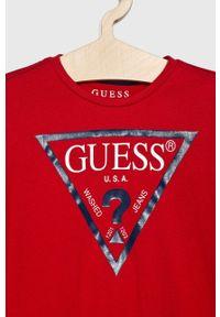 Czerwona koszulka z długim rękawem Guess z nadrukiem, casualowa, na co dzień