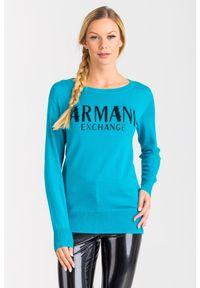 Sweter Armani Exchange z długim rękawem, krótki, na spacer