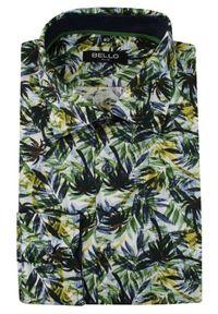 Bello - Zielono-Granatowa Koszula Wizytowa, Długi Rękaw -BELLO- Taliowana, Elegancka, Motyw Florystyczny. Okazja: do pracy, na spotkanie biznesowe. Kolor: niebieski. Materiał: bawełna. Długość rękawa: długi rękaw. Długość: długie. Styl: wizytowy, elegancki