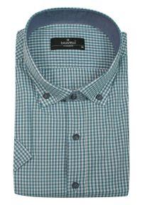 Niebieska elegancka koszula Ravanelli w kratkę, z krótkim rękawem