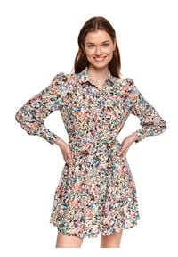 TOP SECRET - Koszulowa sukienka z kolorowy nadruk. Okazja: do pracy, na co dzień. Kolor: zielony. Materiał: materiał. Wzór: nadruk, kolorowy. Sezon: wiosna. Typ sukienki: koszulowe. Styl: casual. Długość: mini