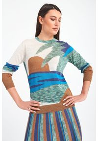 Sweter Marella długi, na plażę, w kolorowe wzory