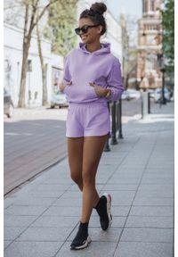 IVON - Komplet Dresowy Bluza Kangurka + Szorty - Liliowy. Kolor: liliowy. Materiał: dresówka