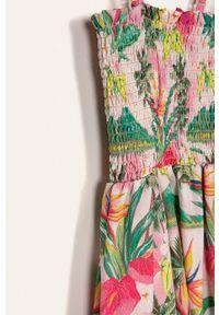 Różowy kombinezon Desigual na ramiączkach, w kwiaty, długi