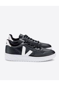 Veja - VEJA - Czarne sneakersy V-10. Kolor: czarny. Materiał: jersey, bawełna, jeans, guma, poliester. Wzór: geometria, aplikacja