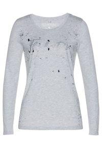 Shirt z długim rękawem bonprix jasnoszary melanż - srebrny. Kolor: szary. Długość rękawa: długi rękaw. Długość: długie. Wzór: melanż. Styl: elegancki