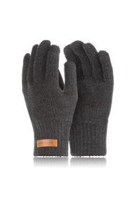 BRODRENE - Rękawiczki męskie zimowe do smartfonów Brodrene R1 ciemnoszare. Kolor: szary. Materiał: materiał. Sezon: zima