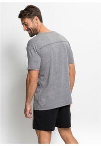 Piżama z krótkimi spodenkami bonprix szary melanż - czarny. Kolor: szary. Długość: krótkie. Wzór: melanż #3