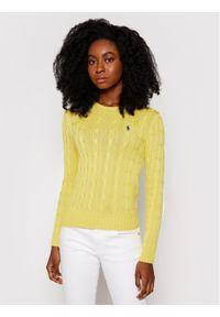Polo Ralph Lauren Sweter Lsl 211580009087 Żółty Regular Fit. Typ kołnierza: polo. Kolor: żółty