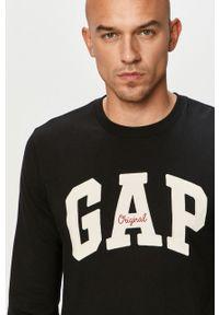 Czarna koszulka z długim rękawem GAP z nadrukiem, casualowa, na co dzień