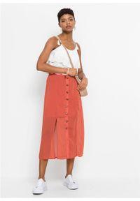 Spódnica midi z plisą guzikową, z poliestru z recyklingu bonprix czerwony cynamonowy. Kolor: czerwony. Materiał: poliester