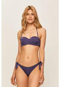 Fioletowy strój kąpielowy dwuczęściowy Emporio Armani do noszenia na różne sposoby