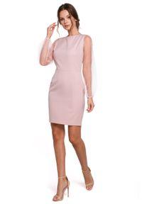 e-margeritka - Sukienka z tiulowymi rękawami różowa - 2xl. Kolor: różowy. Materiał: tiul. Typ sukienki: dopasowane. Styl: elegancki. Długość: mini