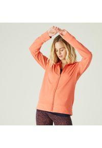 NYAMBA - Bluza na zamek z kapturem fitness. Typ kołnierza: kaptur. Kolor: czerwony. Materiał: bawełna, materiał, elastan. Sport: fitness