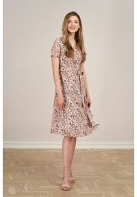 Marie Zélie - Sukienka Duilin Garofano. Materiał: bawełna, skóra, materiał. Typ sukienki: kopertowe. Styl: klasyczny
