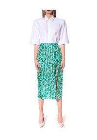 AGGI - Turkusowa cekinowa spódnica Layla. Stan: podwyższony. Kolor: zielony. Materiał: wiskoza. Wzór: aplikacja. Styl: klasyczny, elegancki
