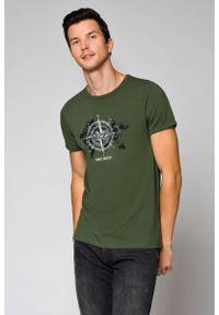 Zielony t-shirt Lancerto z okrągłym kołnierzem, militarny, na co dzień, na wiosnę