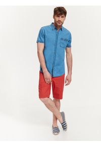 Niebieska koszula TOP SECRET na lato, z krótkim rękawem