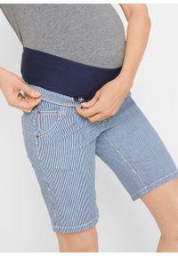 Niebieskie spodnie bonprix moda ciążowa, krótkie, w paski