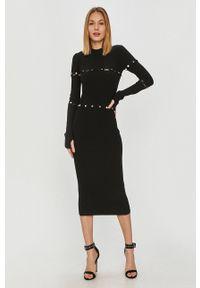 Hugo - Sukienka. Kolor: czarny. Materiał: dzianina. Długość rękawa: długi rękaw. Typ sukienki: dopasowane