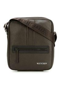 Wittchen - Męska listonoszka skórzana stębnowana mała. Kolor: wielokolorowy, srebrny, brązowy. Materiał: skóra. Styl: casual, klasyczny, elegancki, sportowy