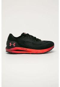 Czarne buty sportowe Under Armour na sznurówki, z okrągłym noskiem, do biegania, z cholewką
