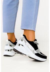 Filippo - Czarne sneakersy filippo skórzane buty sportowe sznurowane dp2056/21bk si. Kolor: czarny. Materiał: skóra