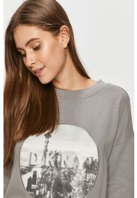 Szara bluza DKNY długa, z aplikacjami, bez kaptura, z długim rękawem