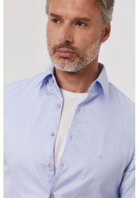 Niebieska koszula Calvin Klein gładkie, elegancka, na co dzień, z długim rękawem
