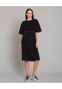 MONCLER - Bawełniana sukienka z nadrukiem. Kolor: czarny. Materiał: bawełna. Wzór: nadruk. Sezon: jesień, zima