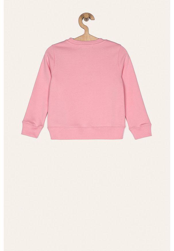 Różowa bluza Calvin Klein Jeans z nadrukiem, z okrągłym kołnierzem